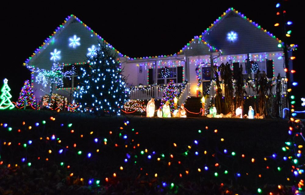 A house is decorated for the Merry and Bright Holiday Home Challenge.